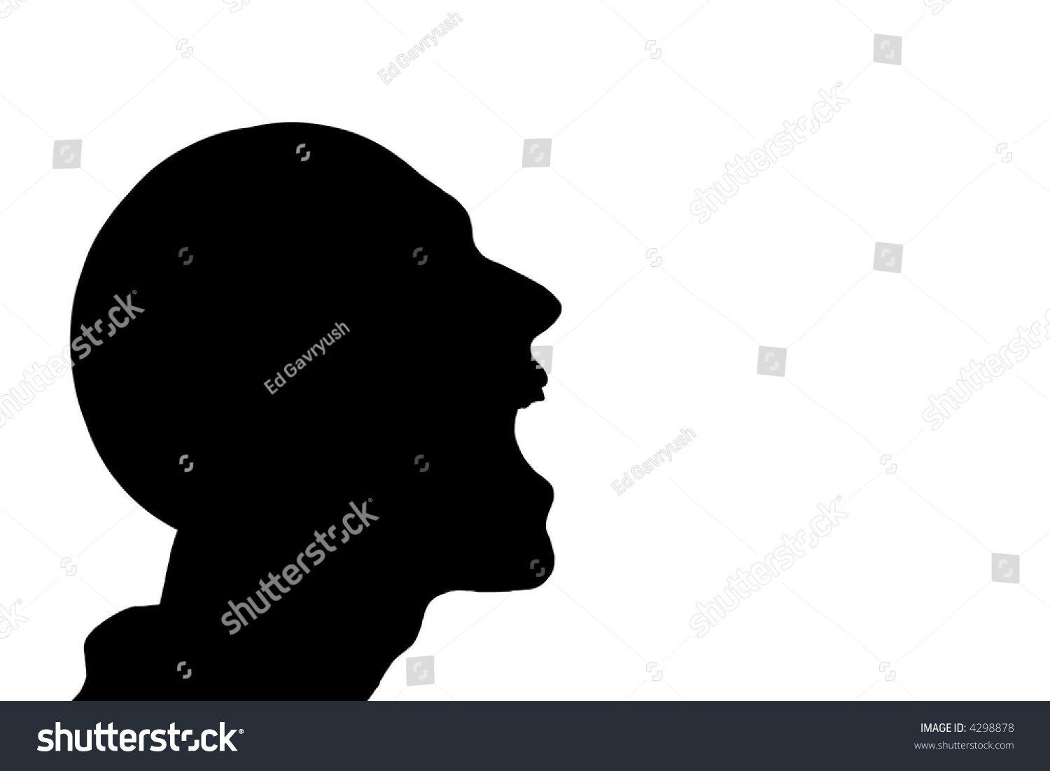Silhouette Man Laughing Over White Background Stock ...