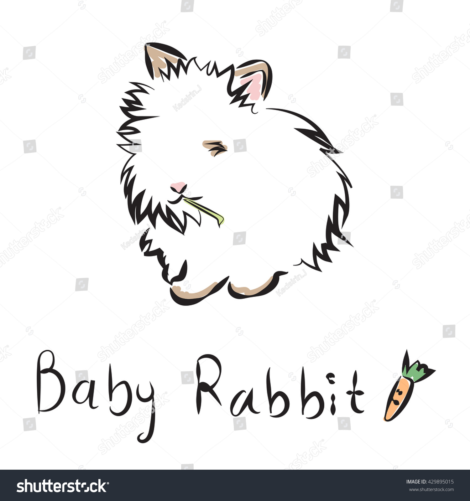 vector illustration outline lovely bunny on stock vector 429895015