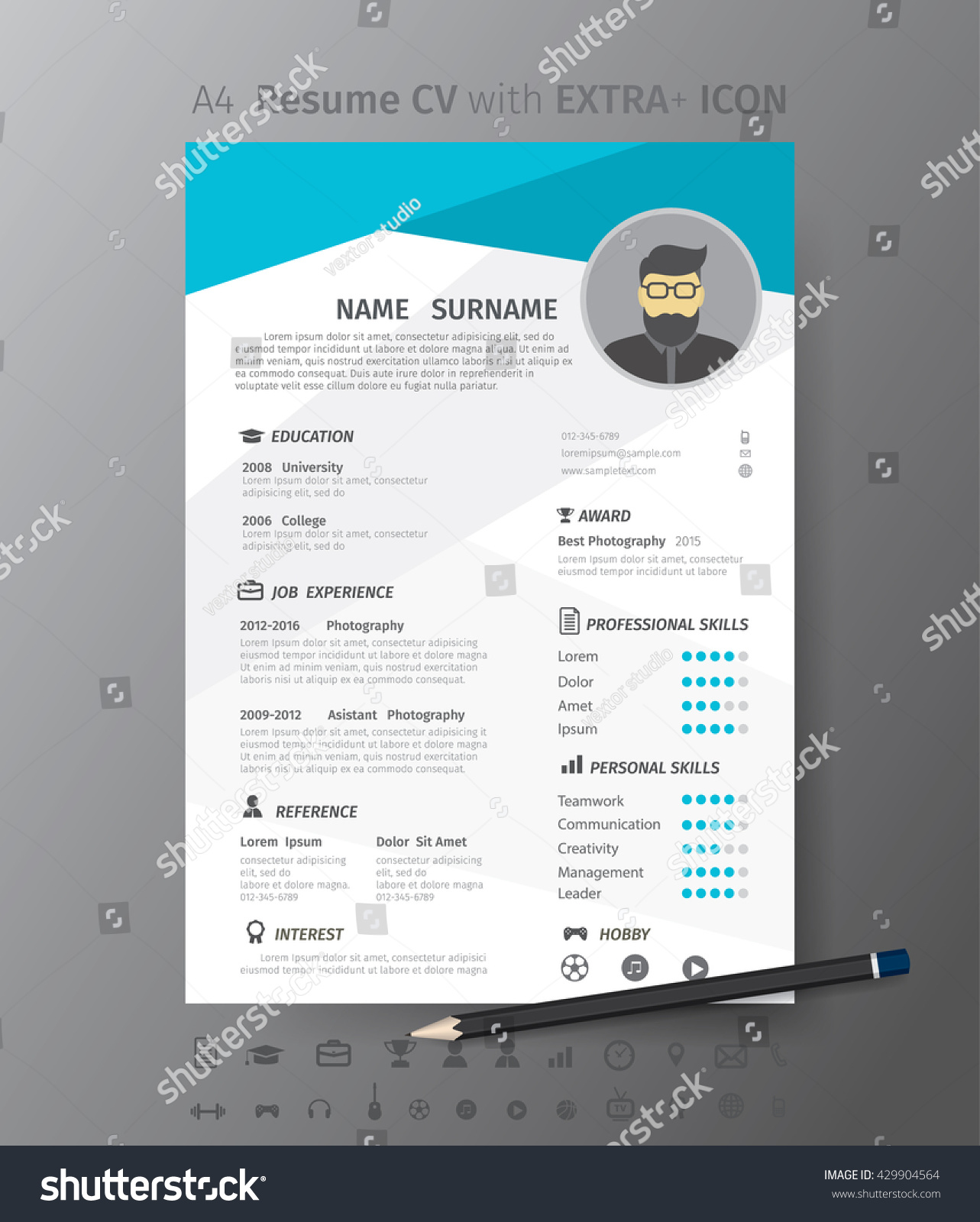 clean modern design template resume cvvector stock vector