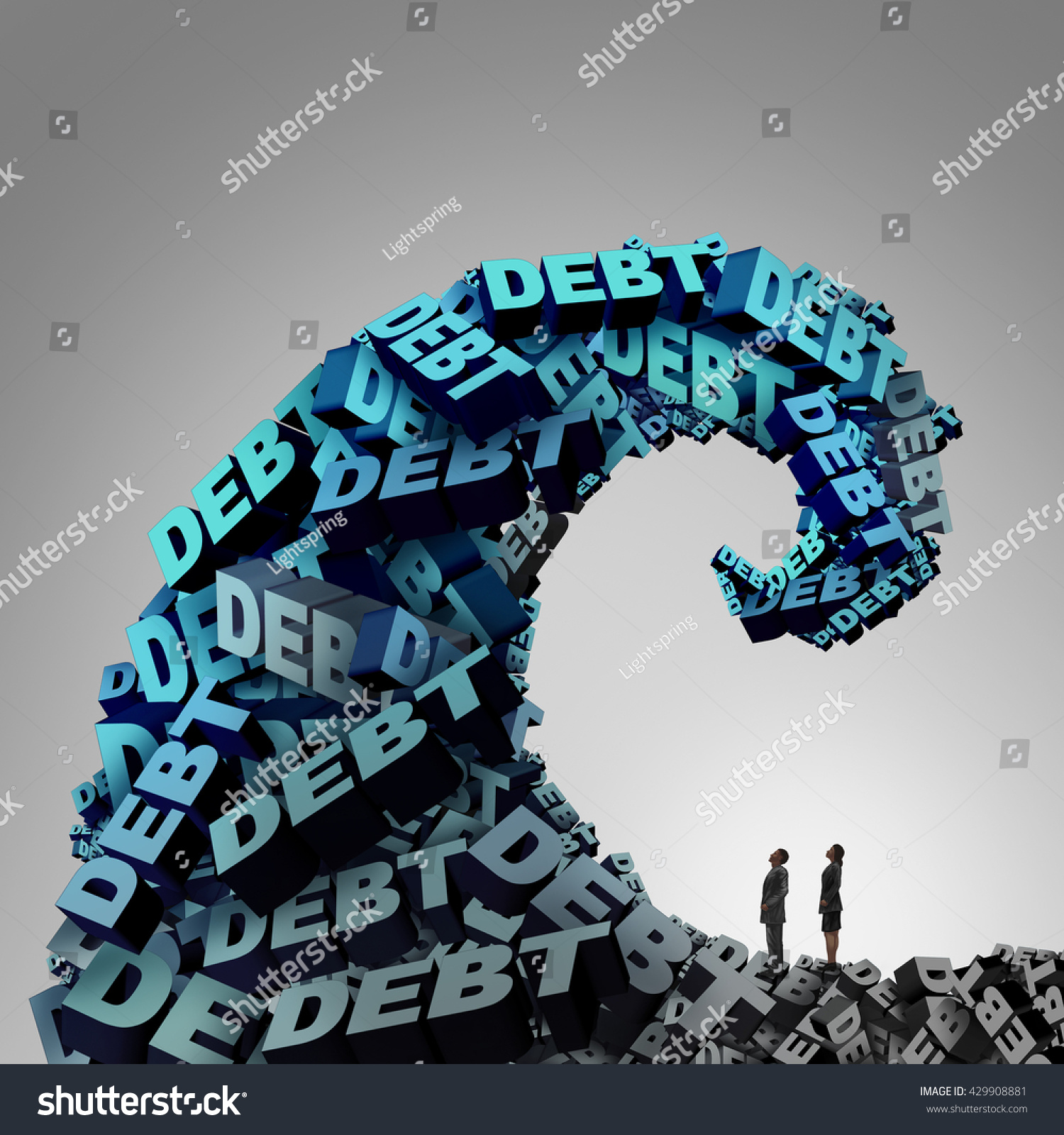 Debt Pressure Financial Concept Huge Wave Stock Illustration
