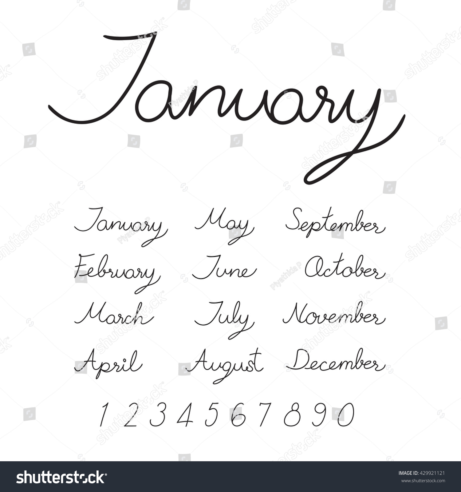 Handwritten months of the year (January… Stock Photo