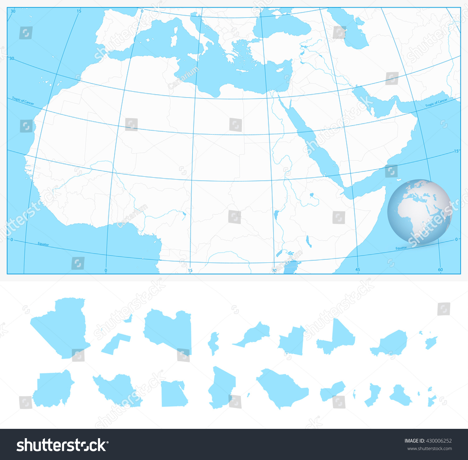 Blank Outline Map Northern Africa Middle Stock Vector HD (Royalty ...