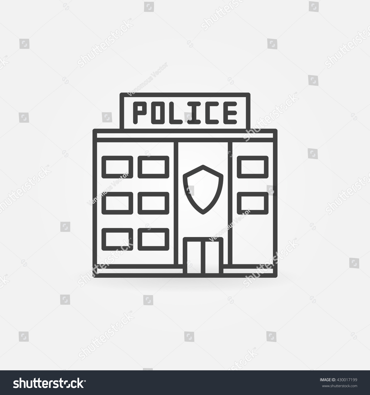 Police Station Building Icon Vector Police Stock Vector 430017199