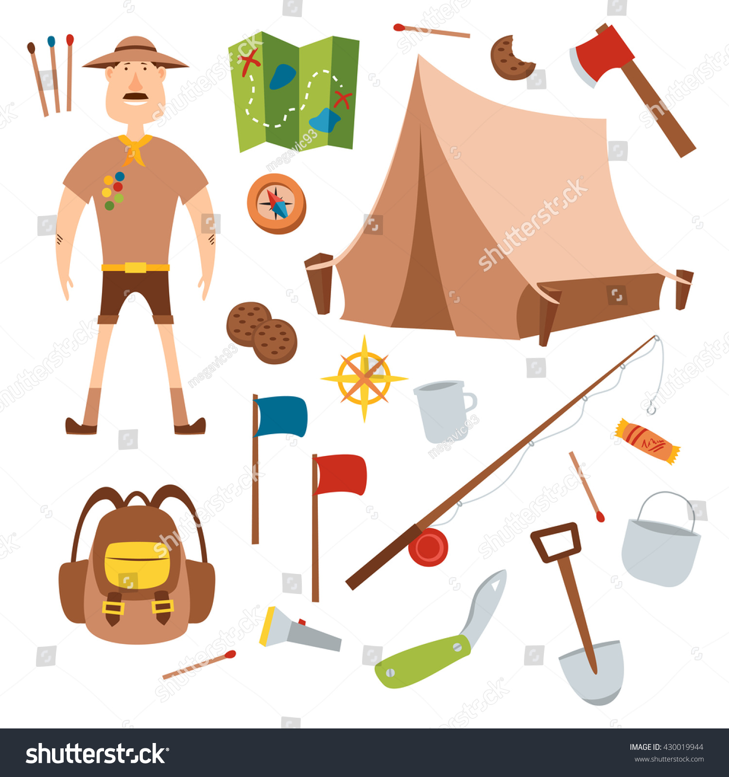 Set Camping Equipment Symbols Boy Scouts Stock Vector Royalty Free