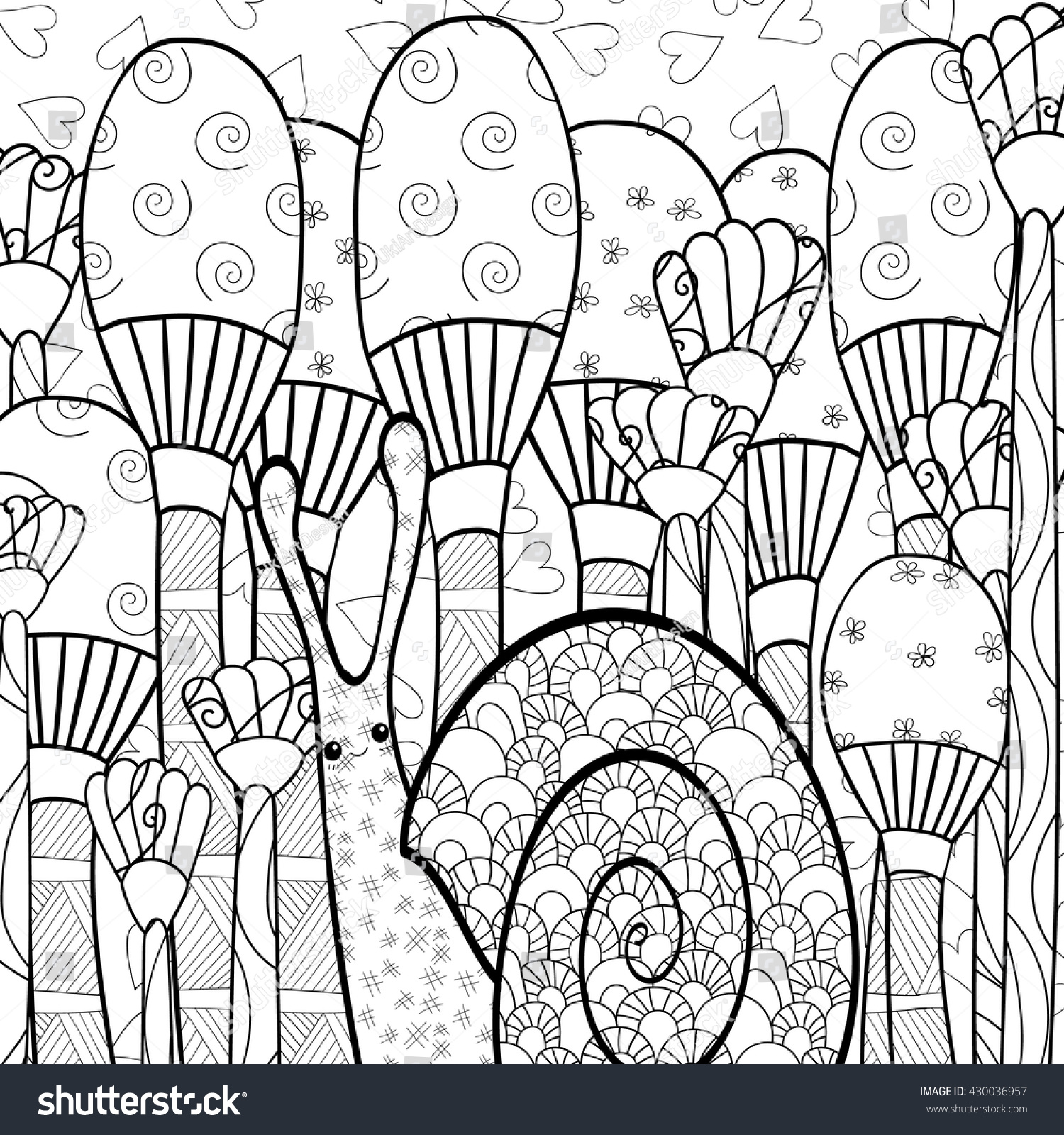 Adult Coloring Page Cute Snail In Mushroom Whimsical Garden Line Art Vector Illustration Soft Intricate