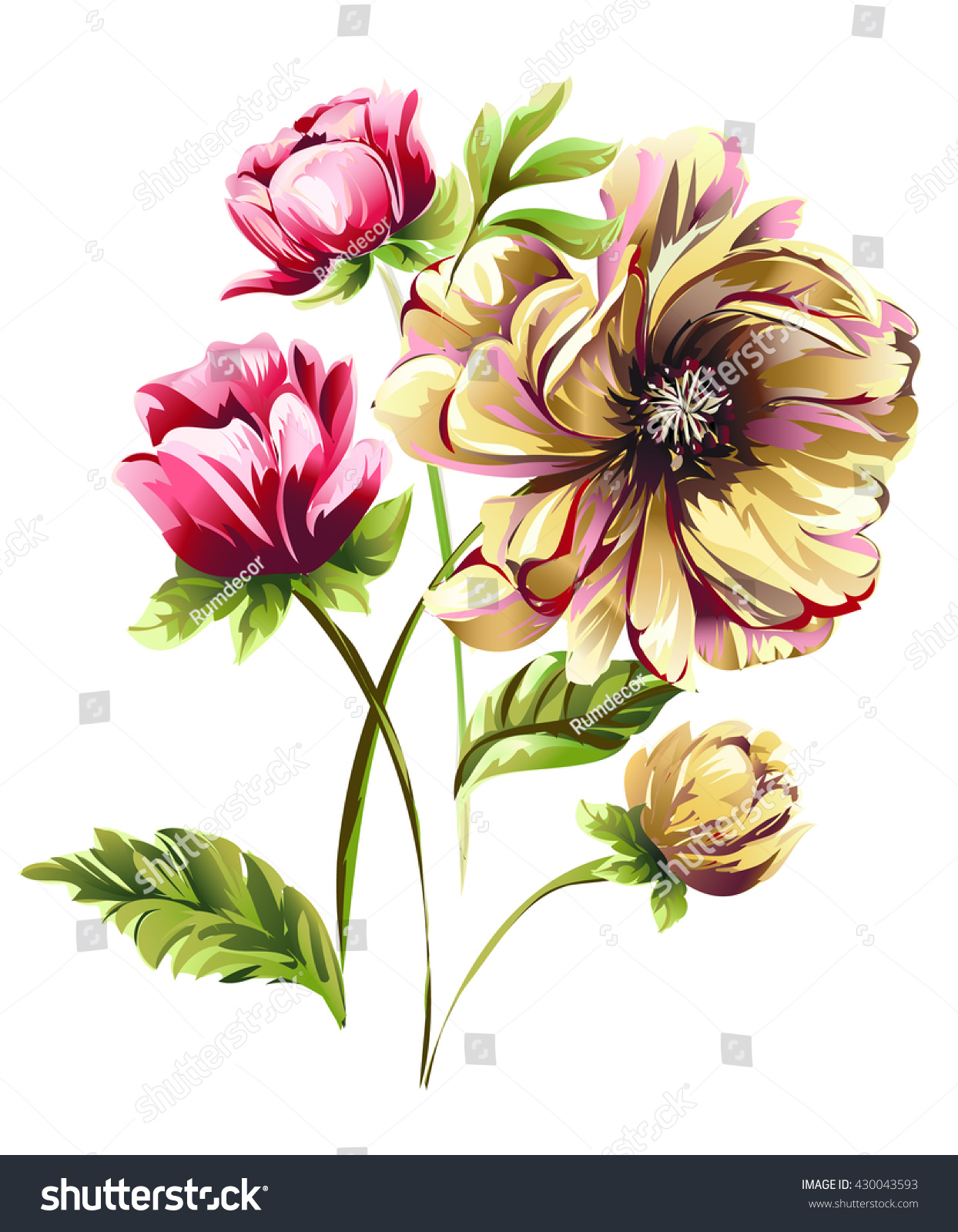 Bouquet flowers tulips peony narcissus stock vector 430043593 bouquet of flowers tulips peony narcissus dhlflorist Images