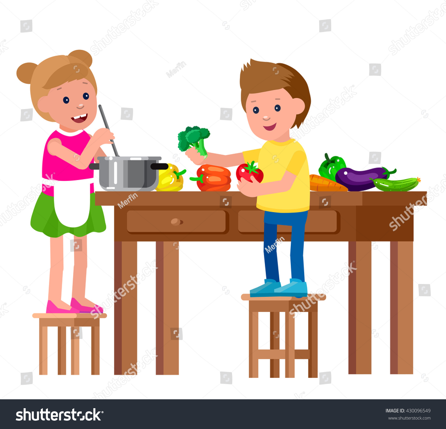 Cute Vector Character Child Healthy Food Stock Vector -8616
