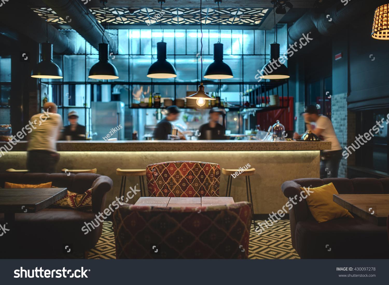 Halflighted Hall Loft Style Mexican Restaurant Stock Photo (Edit Now ...