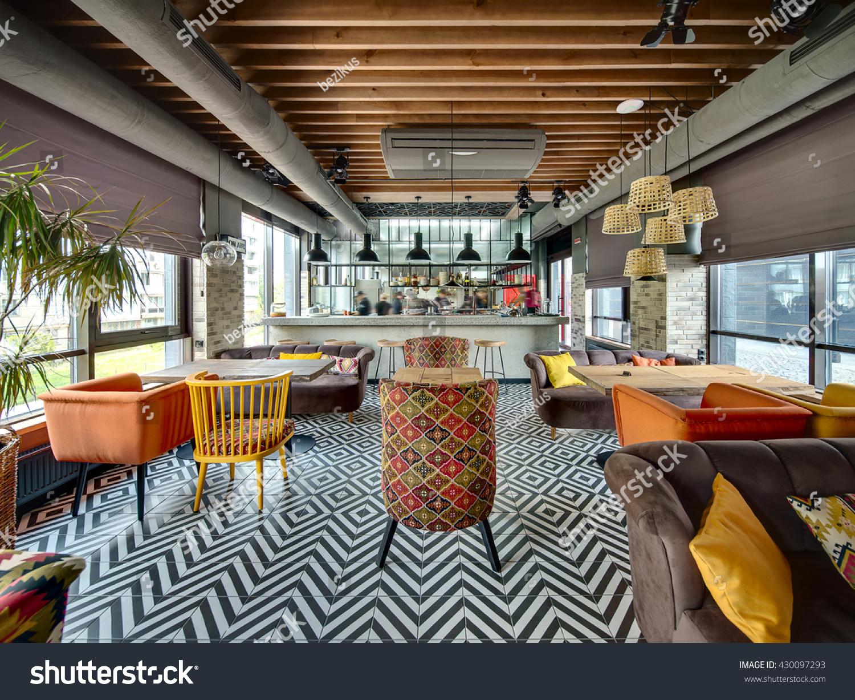 Room loft style mexican restaurant open stock photo