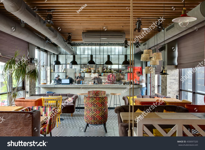 Fantastic interior loft style mexican restaurant stock