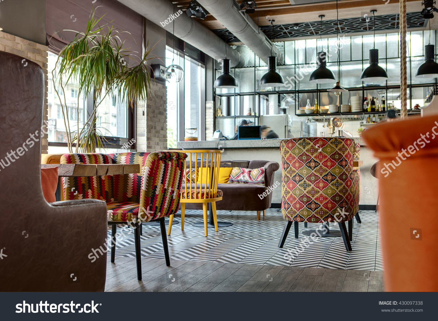 Charming Hall Loft Style Mexican Restaurant Stock Photo 430097338
