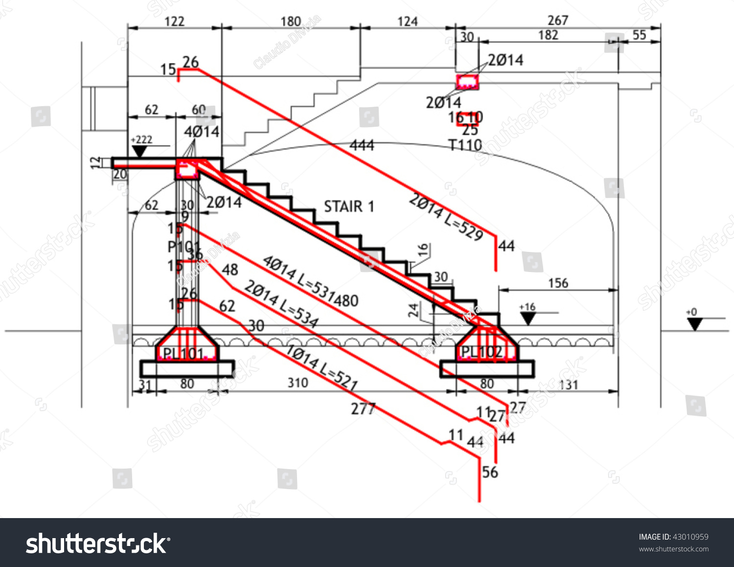 Structural Drawing For A Reinforced Concrete Structure Stair