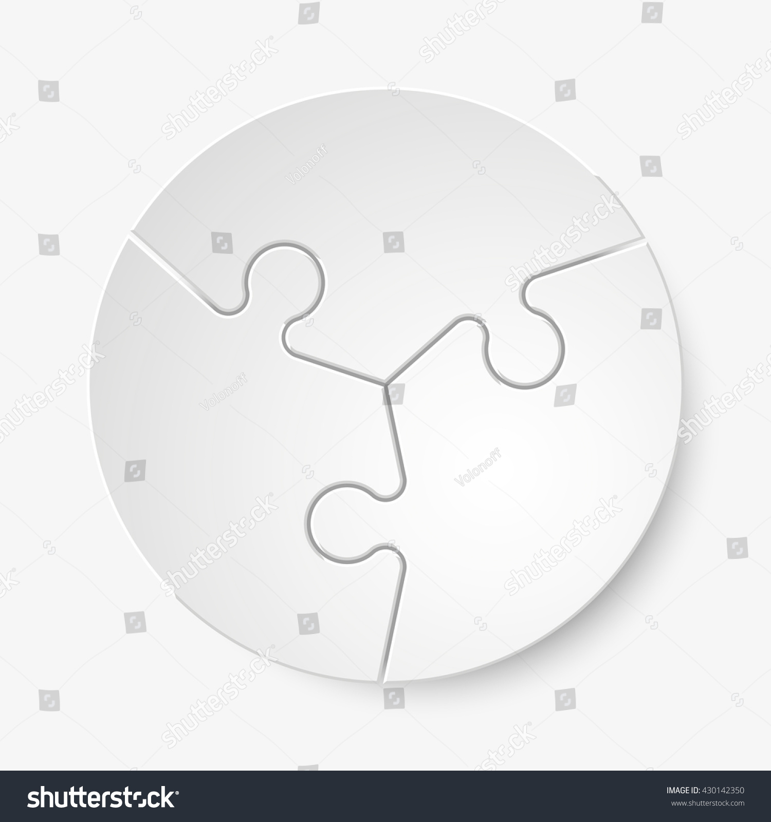 three piece flat puzzle round infographic stock illustration
