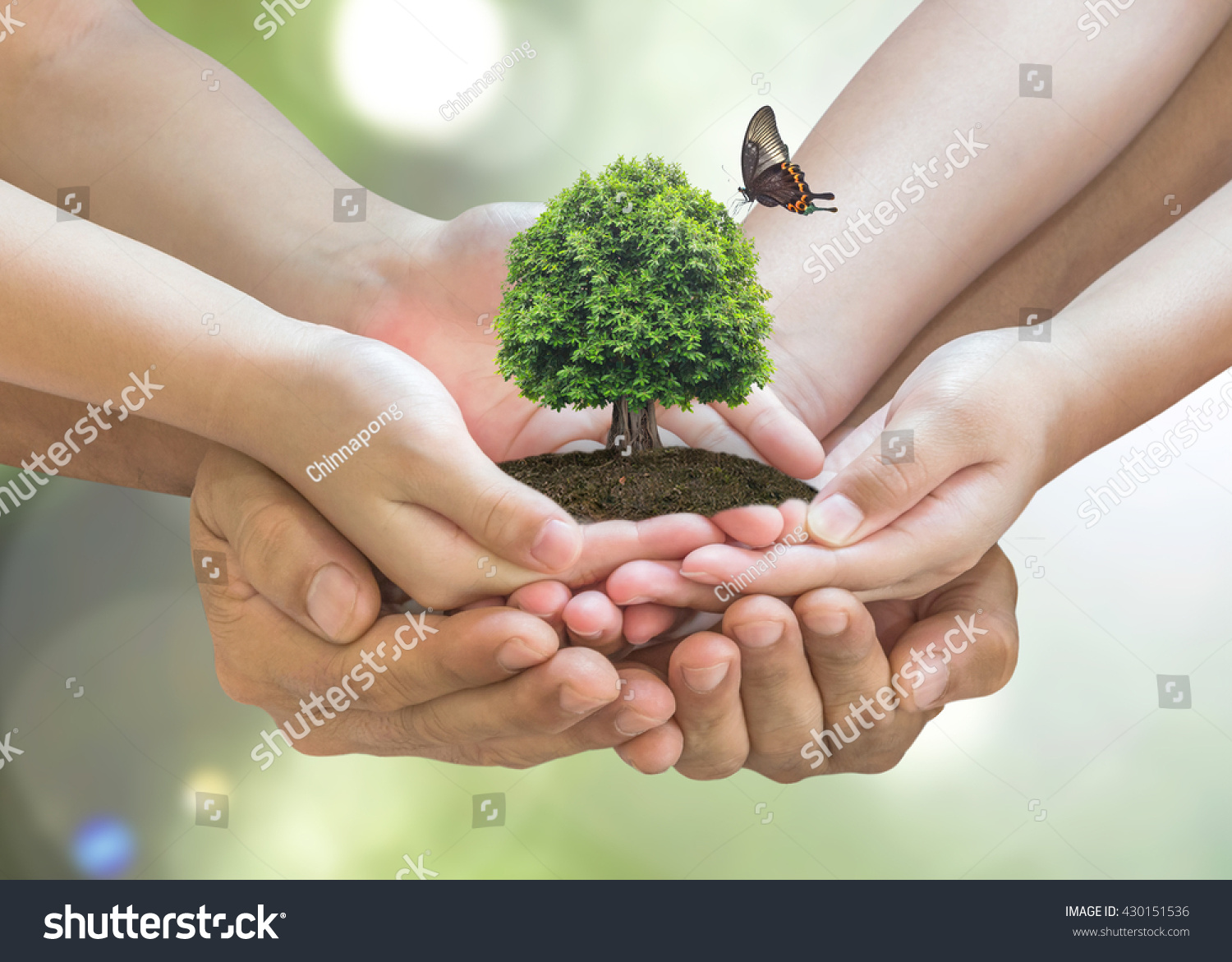 Parent and children planting together big tree on family hands w/ butterfly on blur nature greenery background: World environment day reforesting eco bio arbor CSR ESG ecosystems reforestation concept