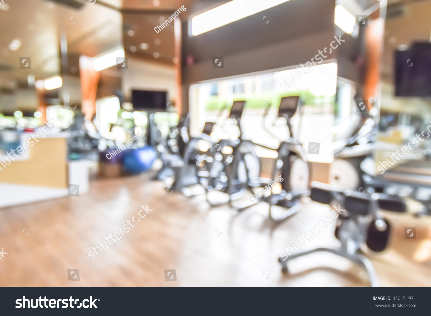 Blur abstract background modern fitness center stock photo