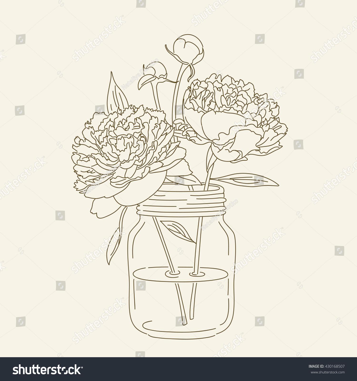 Mason Jar Coloring Page Hand Drawn Peonies Mason Jar Vector Stock Vector 430168507