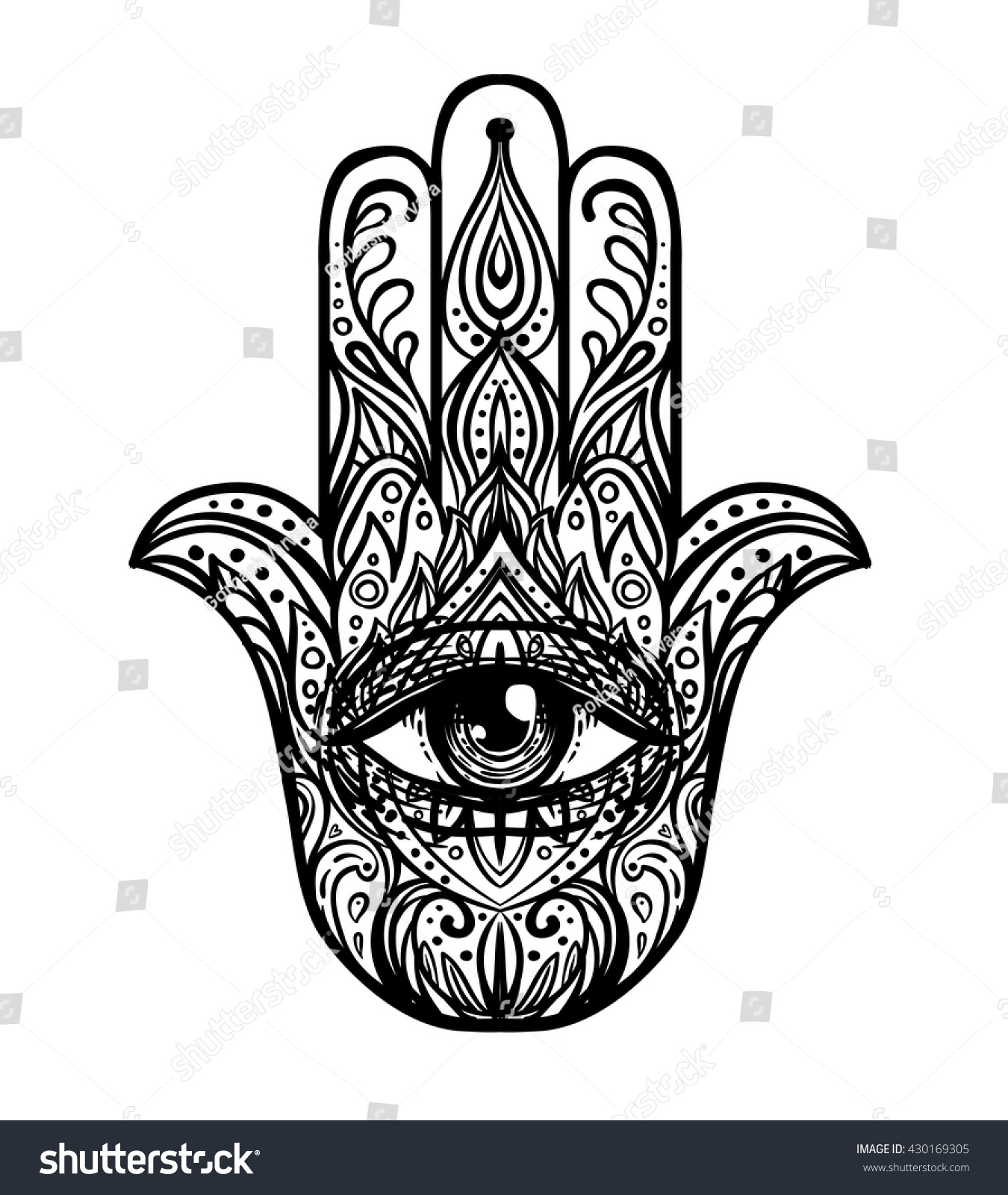 Royalty free blackwork tattoo flash ornate hand 430169305 stock popular arabic and jewish amulet vector illustration isolated on white tattoo design mystic symbol coloring book for adults stock photo biocorpaavc Choice Image