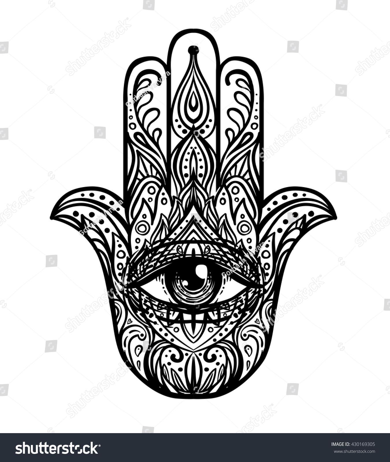 Blackwork tattoo flash ornate hand drawn stock vector 430169305 ornate hand drawn hamsa popular arabic and jewish amulet vector biocorpaavc