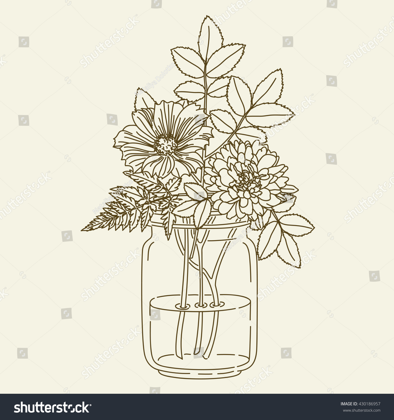 hand drawn flowers mason jar vector stock vector 430186957