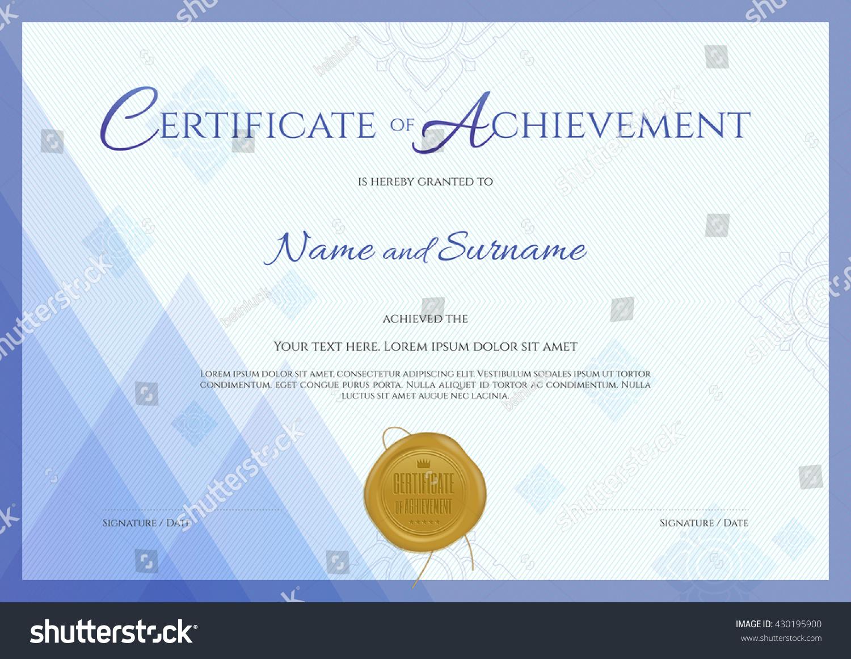 Certificate achievement template blue theme background stock certificate of achievement template with blue theme background thai line and gold wax seal xflitez Choice Image