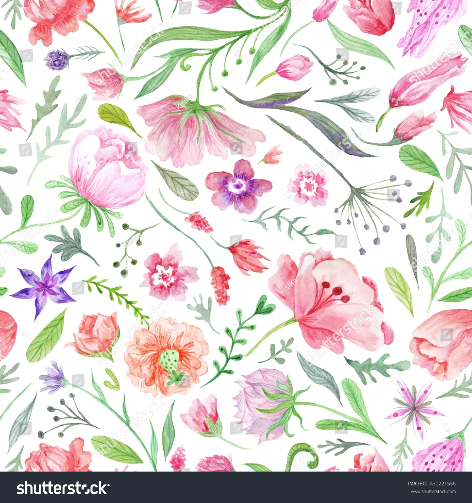 Bright Vintage Watercolor Summer Pattern Seamless Stock ...