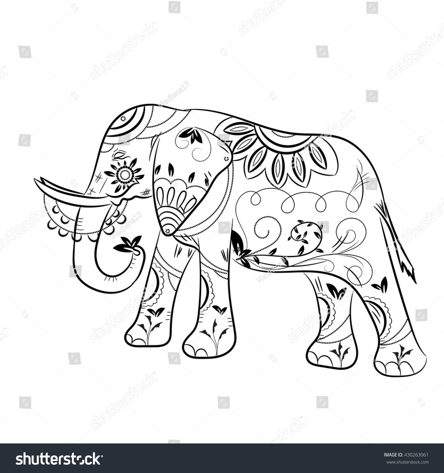 ornate elephant on lace background for coloring page design pattern