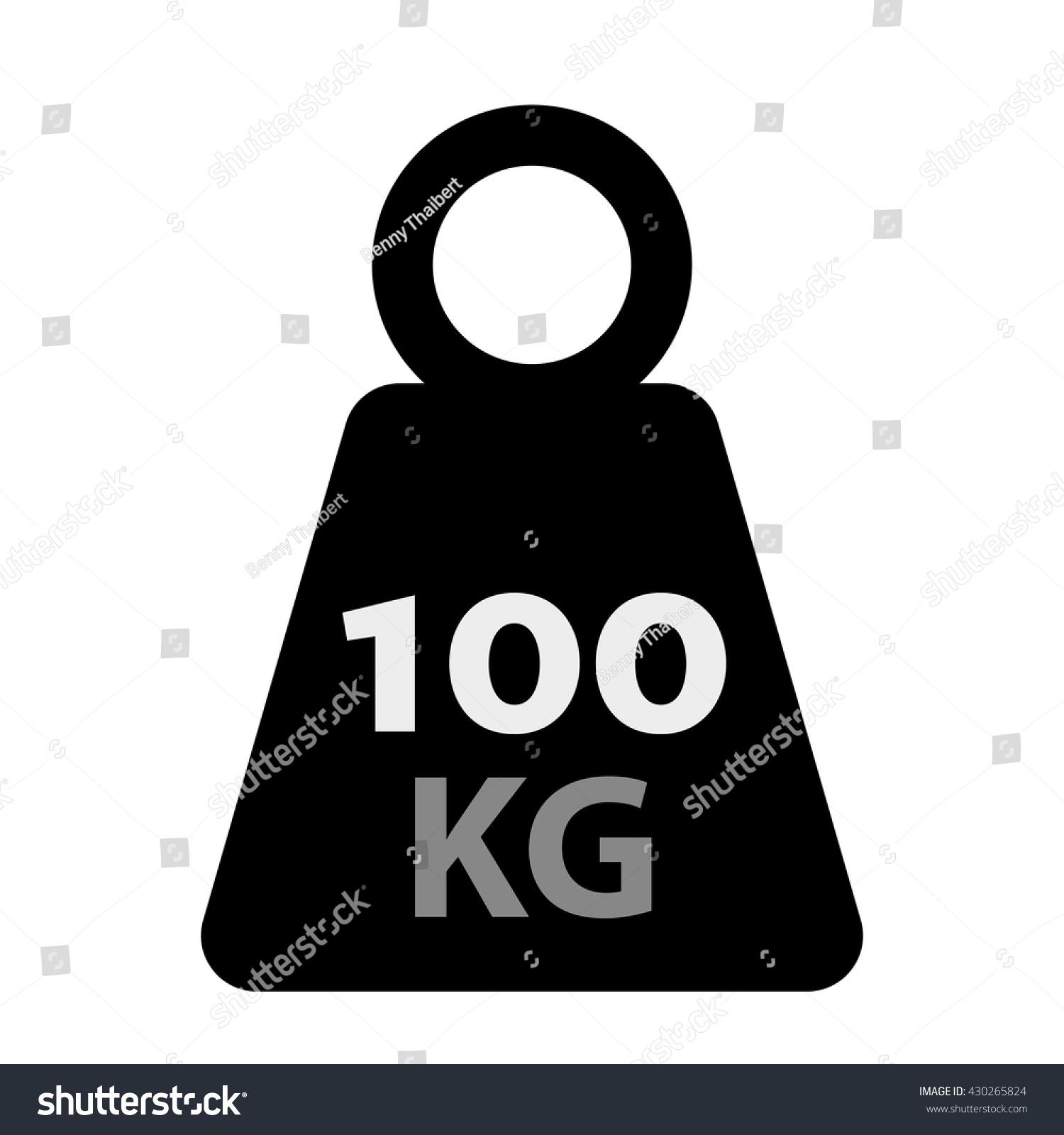 Weight Kilogram Icon Showing 100 Kilo Stock Vector Royalty Free