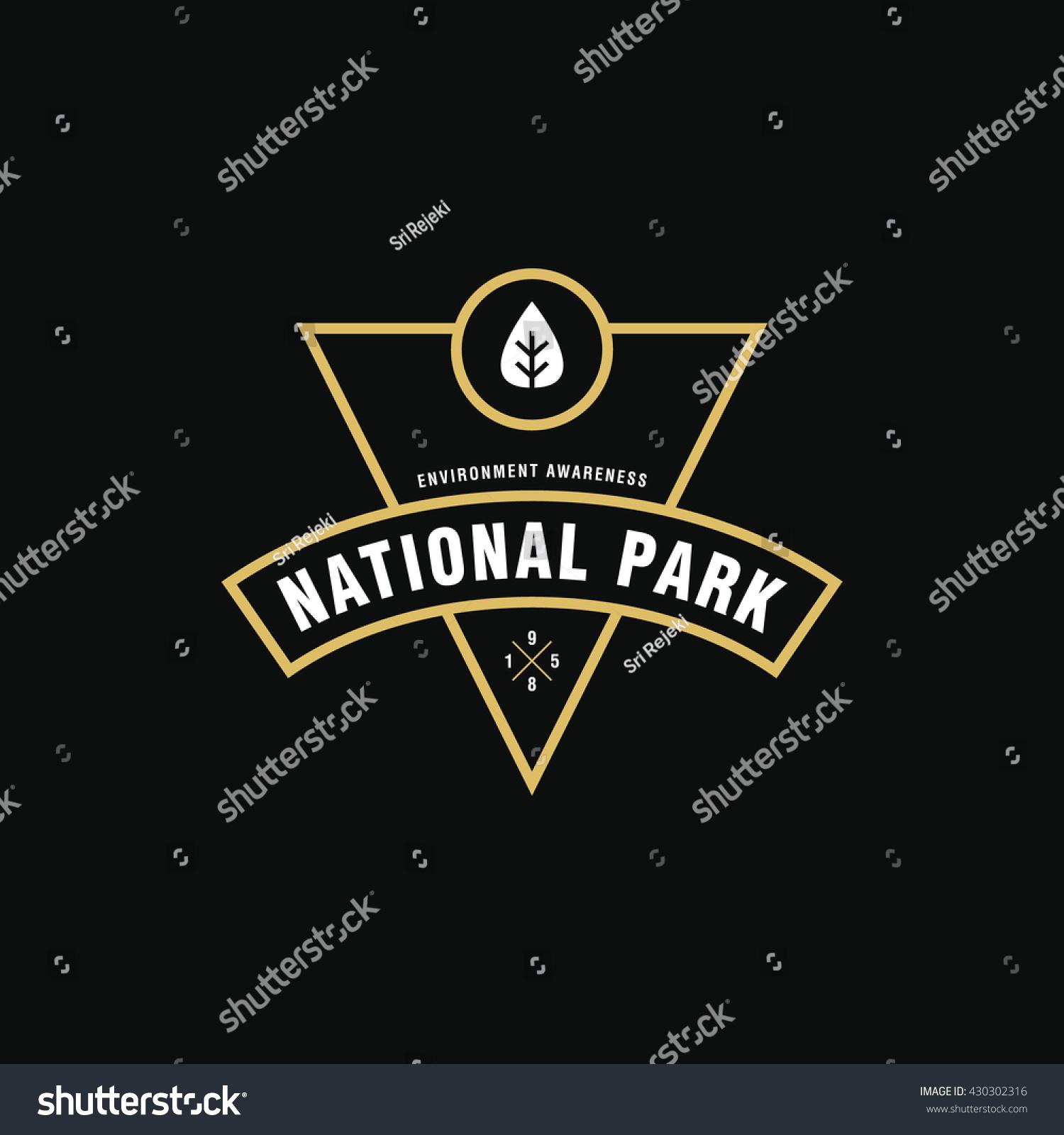 Vintage National Park Outdoor Symbol Environmental Stock Vector