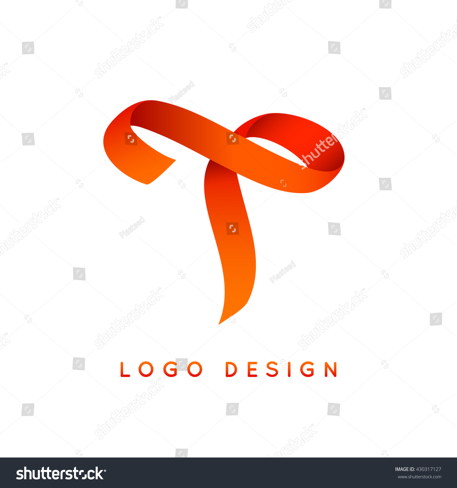 letter t logo design colorful ribbon stock vector