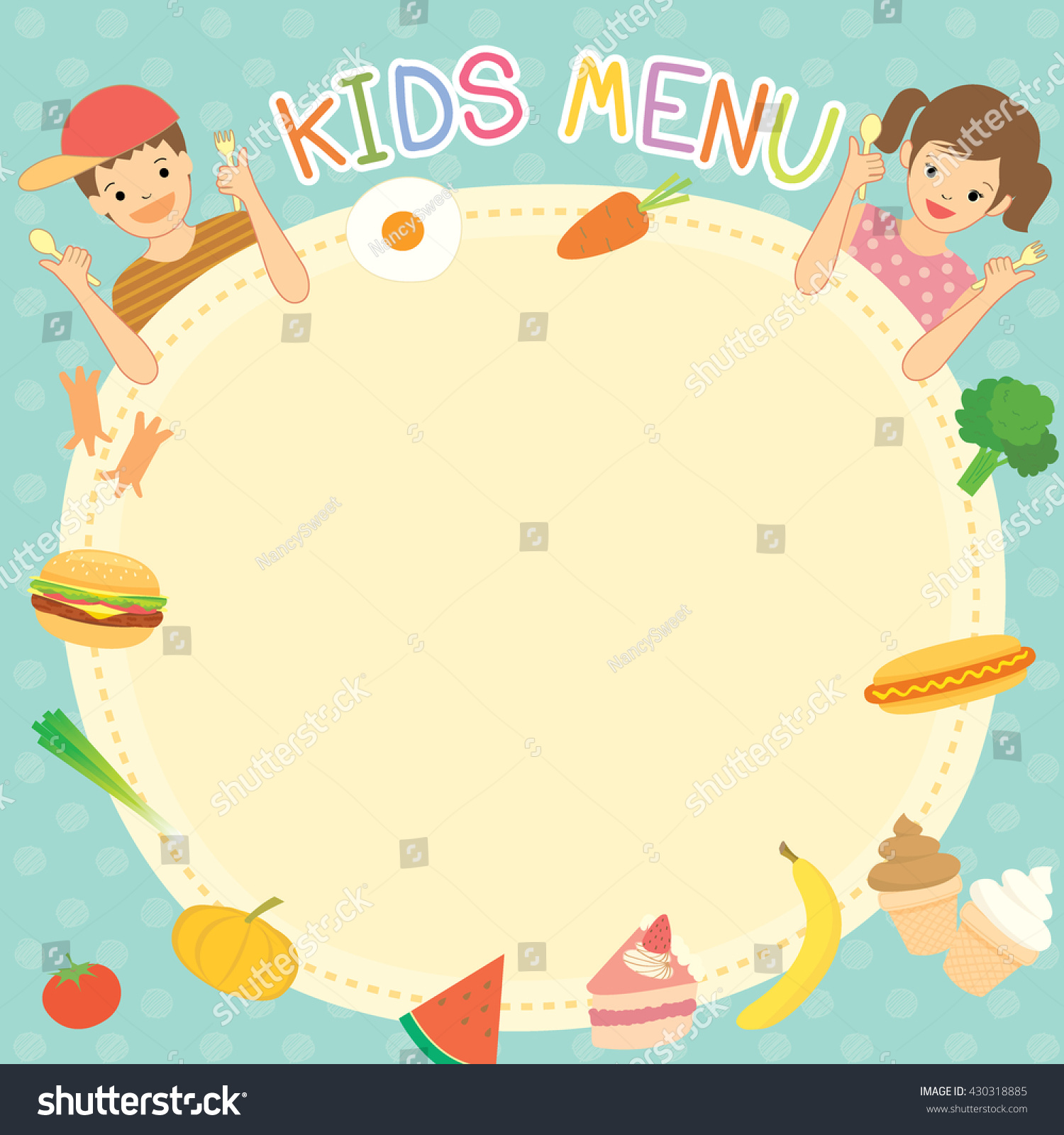 Boy girl eating kids menu template stock vector 430318885 boy and girl was eating for kids menu template board decoration with ingredient food meal and pronofoot35fo Gallery