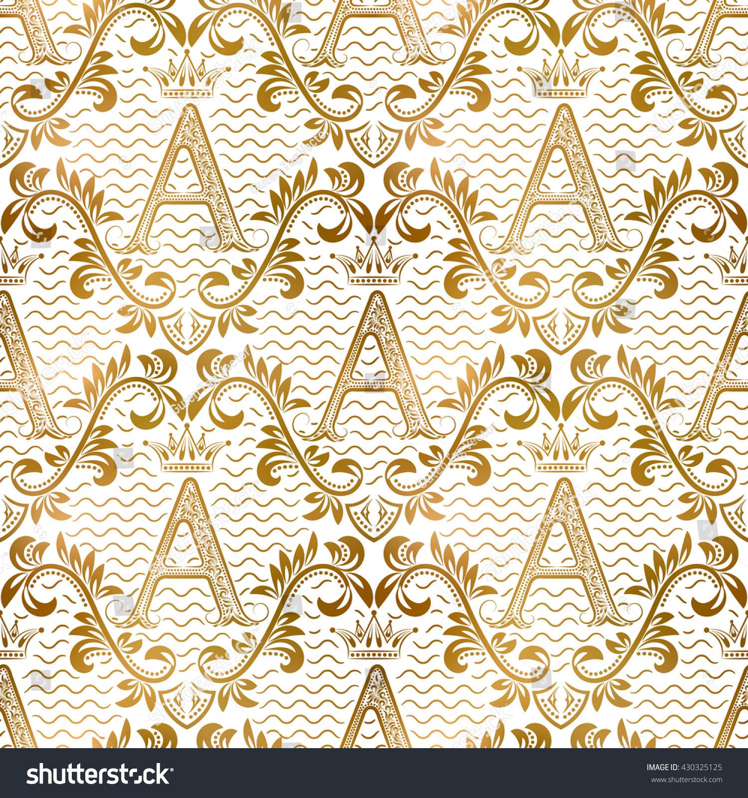 Golden White Vintage Seamless Pattern Gold Stock Vector