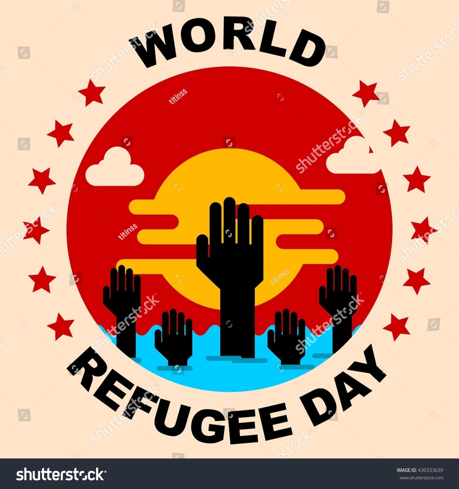 world refugee day campaign poster refugee awareness poster template stock vector illustration. Black Bedroom Furniture Sets. Home Design Ideas