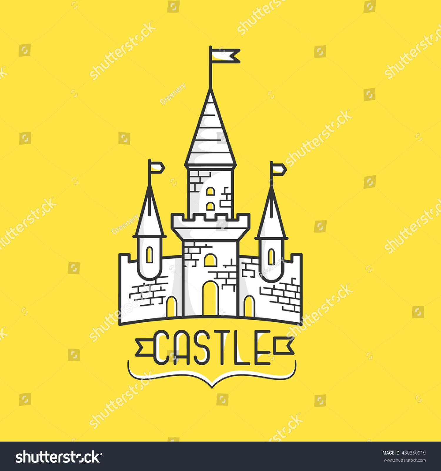 modern flat design linear old castle stock vector 430350919
