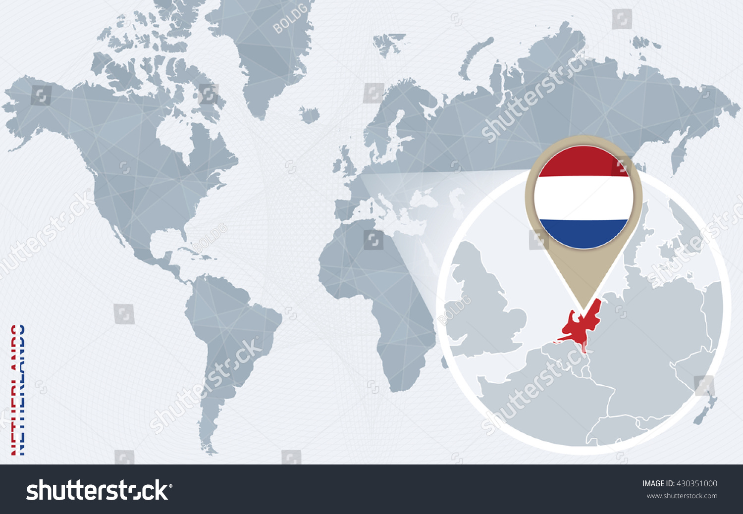 Abstract Blue World Map Magnified Netherlands Stock Vector Royalty