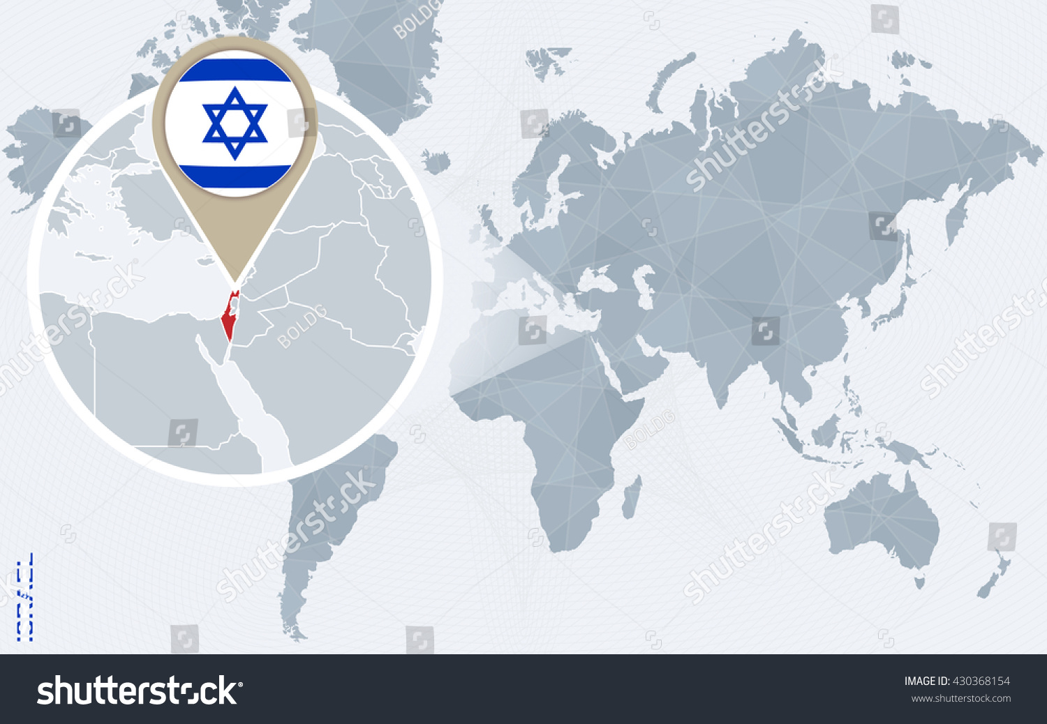 Abstract blue world map magnified israel stock vector 430368154 abstract blue world map with magnified israel israel flag and map vector illustration gumiabroncs Image collections