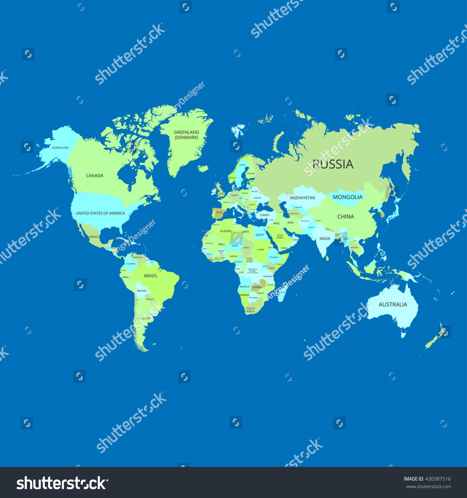 World Map Names Countries Vector Illustration Stock Vector - Earth map with country names