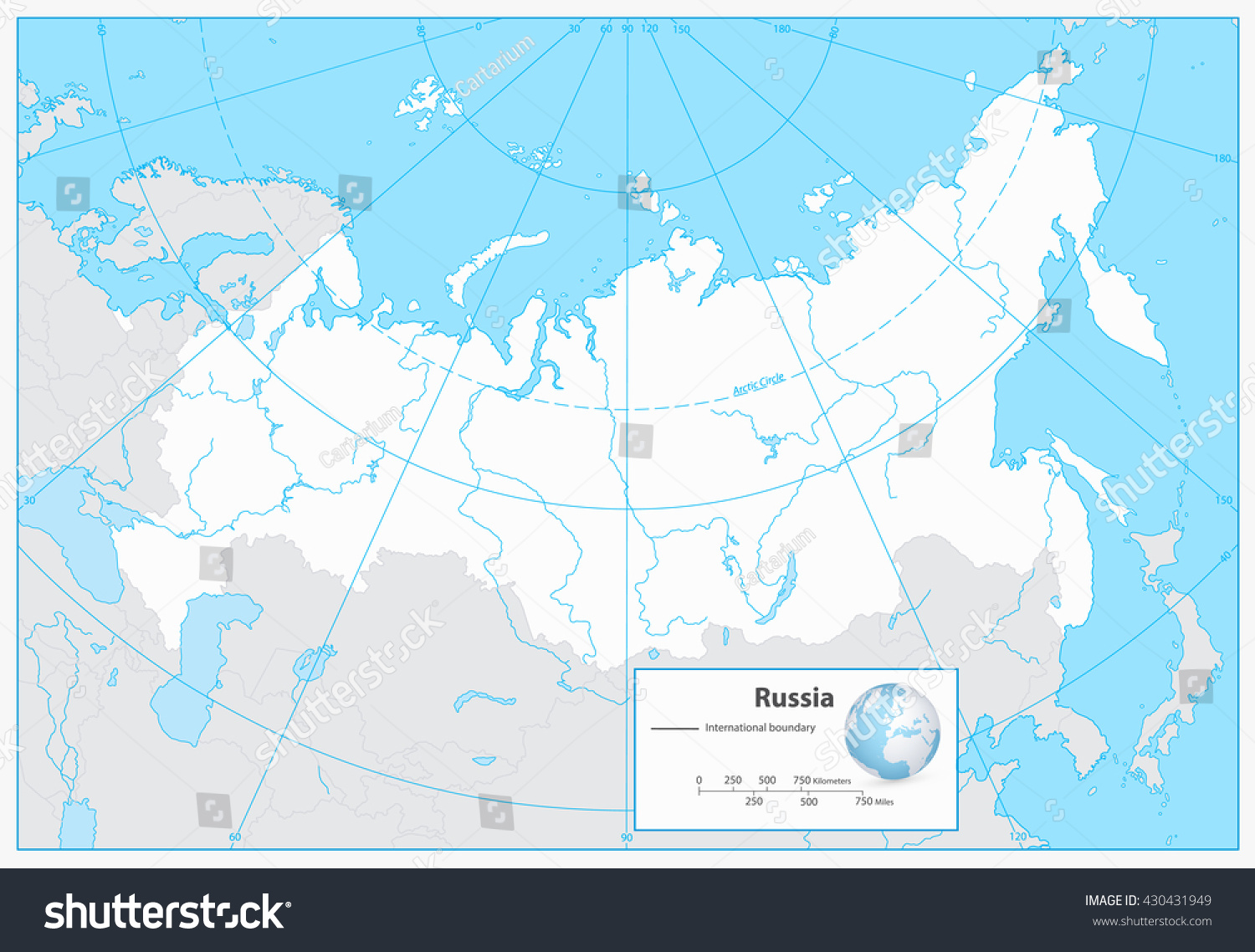 Russian Federation Blank Outline Map Separated Stock Vector - Blank map of russia