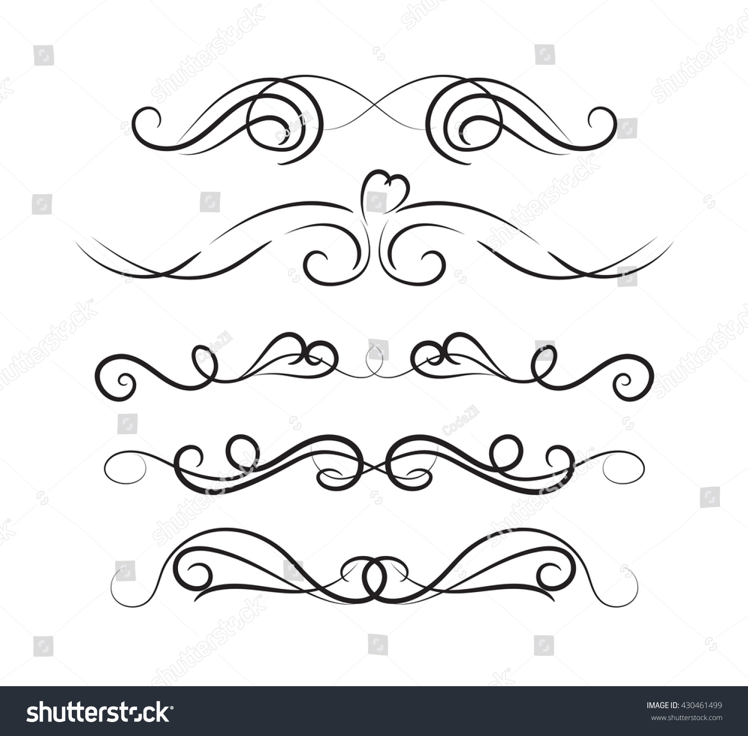 Line Art Card Design : Set page decoration line drawing design stock vector