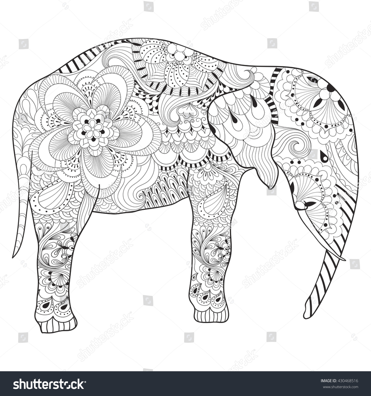 hand drawn zentangle elephant with mandala for adult antistress coloring pages art therapy post card - Art Therapy Coloring Pages Mandala
