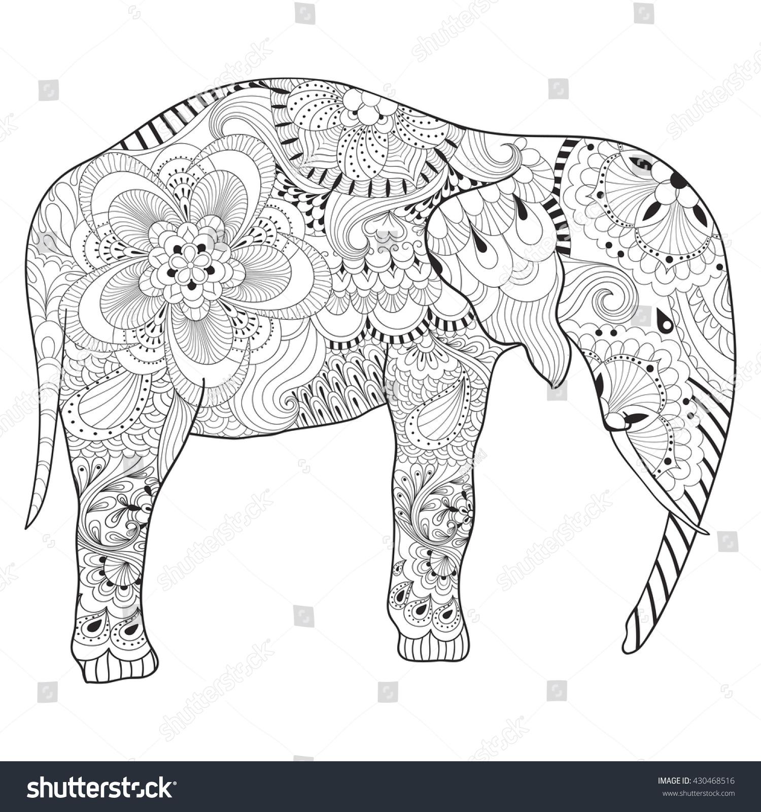 hand drawn zentangle elephant mandala stock vector 430468516