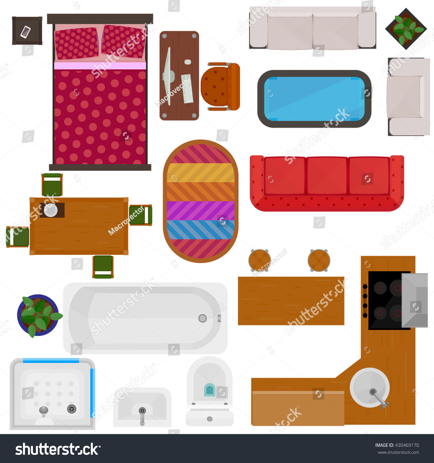 Top view home furniture decorative icons stock vector for Kitchen set video song