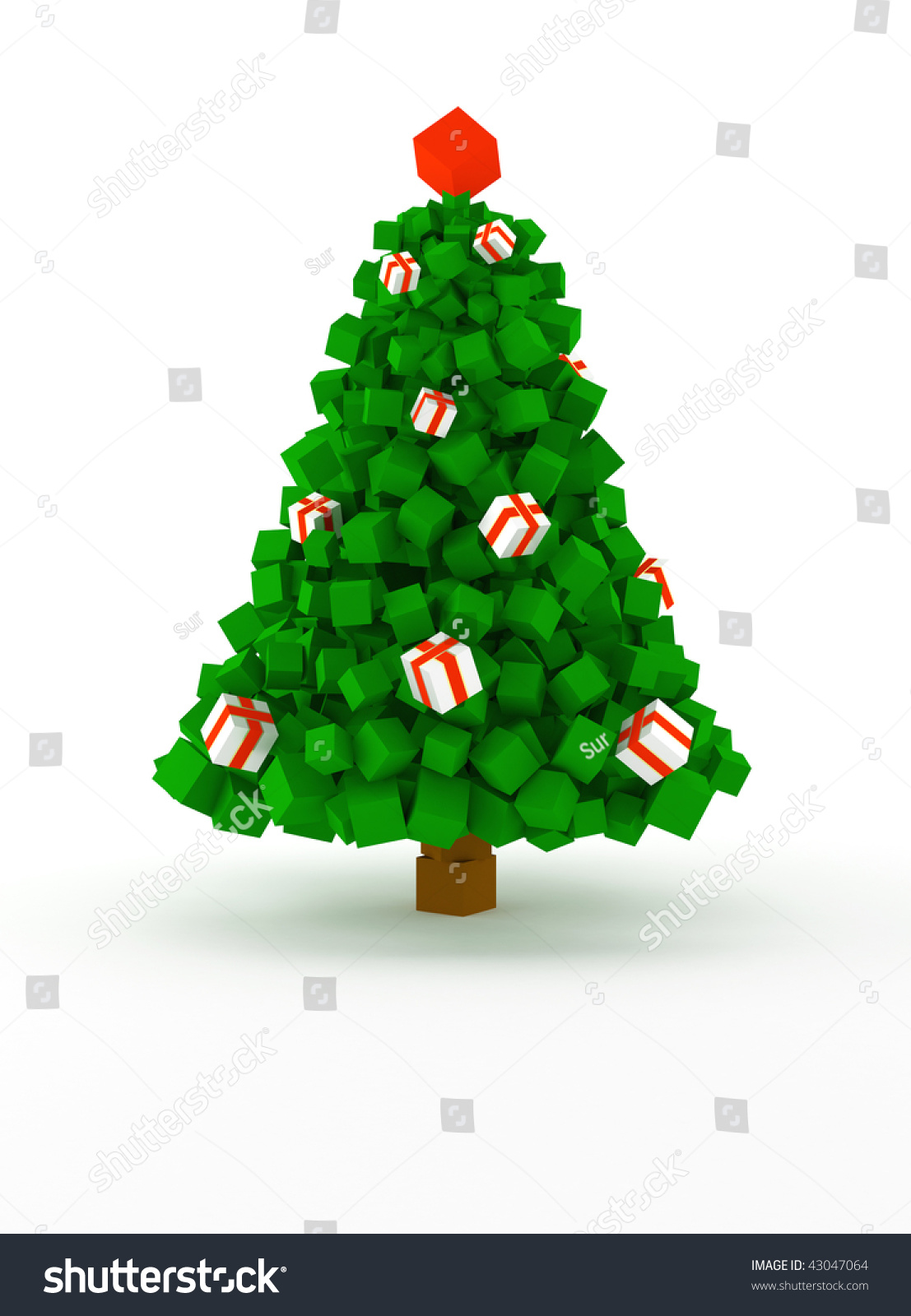 Christmas Tree Made Colored Cubes Stock Illustration 43047064 ...