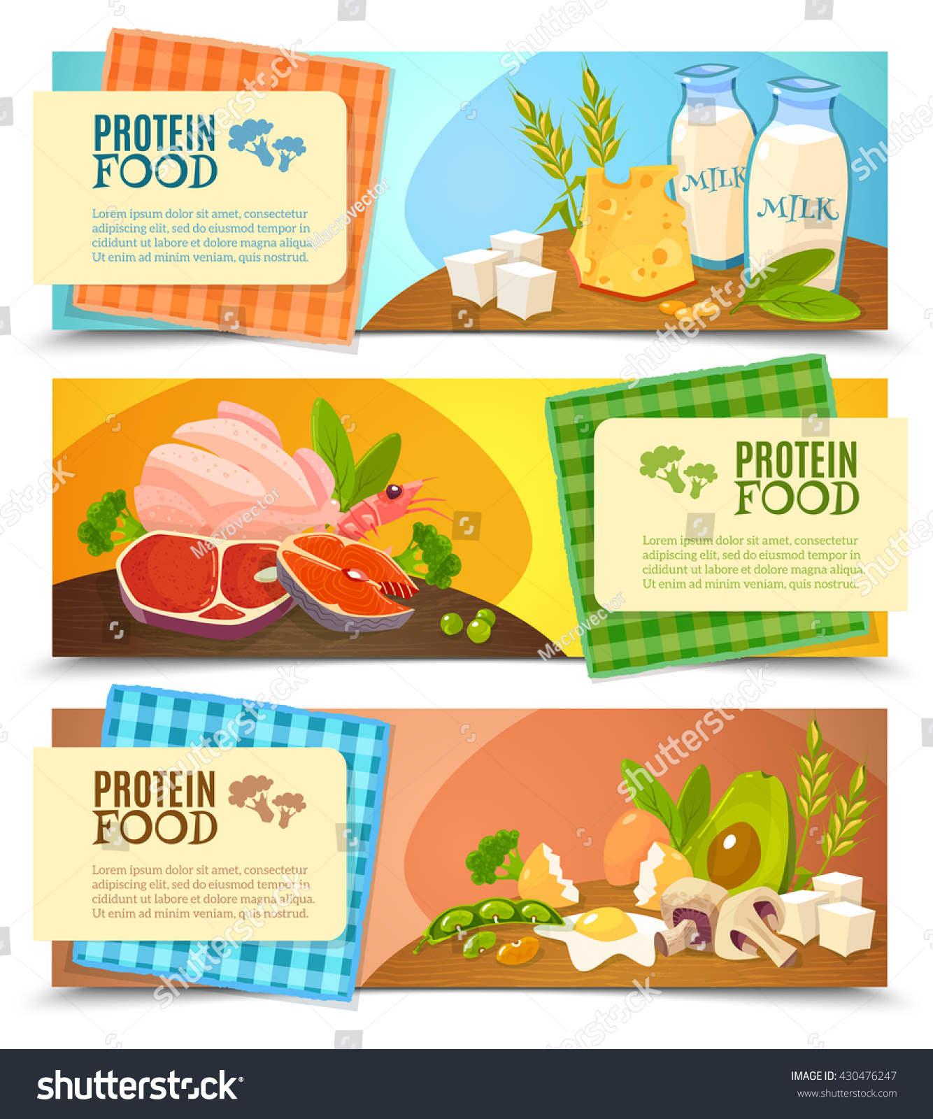 Healthy Diet 3 Horizontal Flat Banners Set With Information On High Protein Food Abstract Isolated Vector