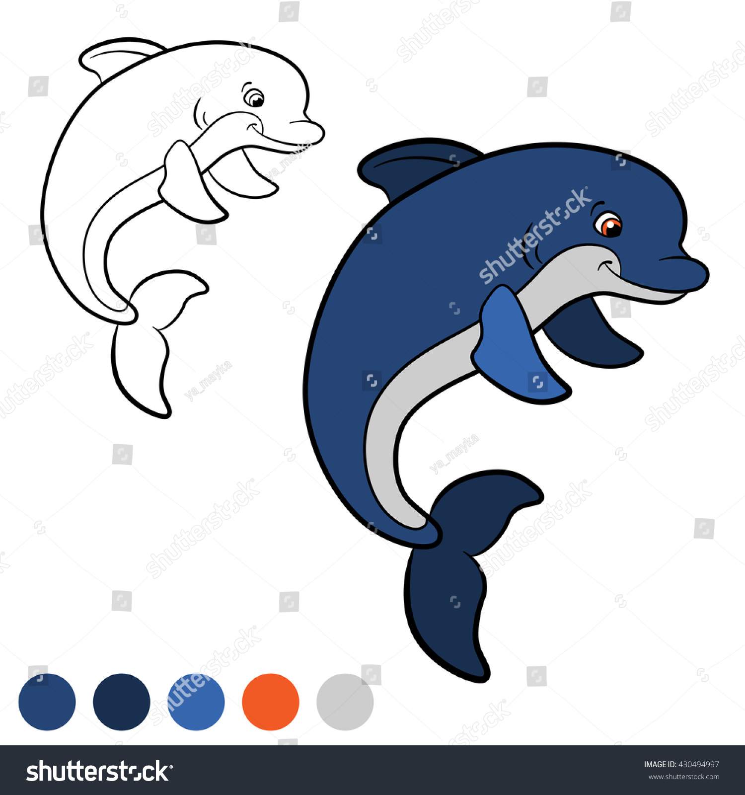 coloring page little cute dolphin jumps stock vector 430494997