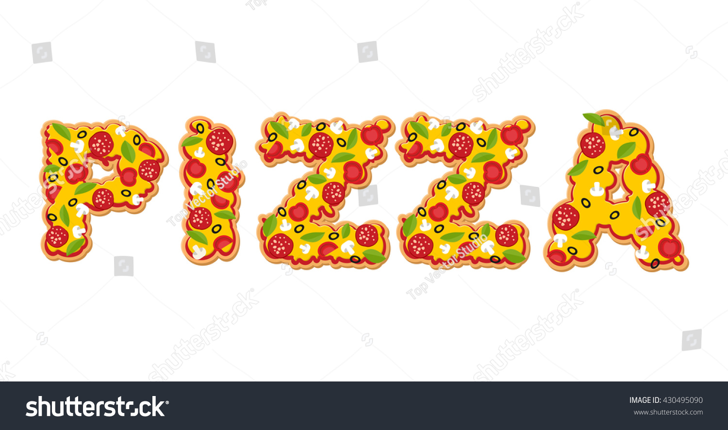 Pizza Text Letters Appetizing Slices Pizza Stock Vector