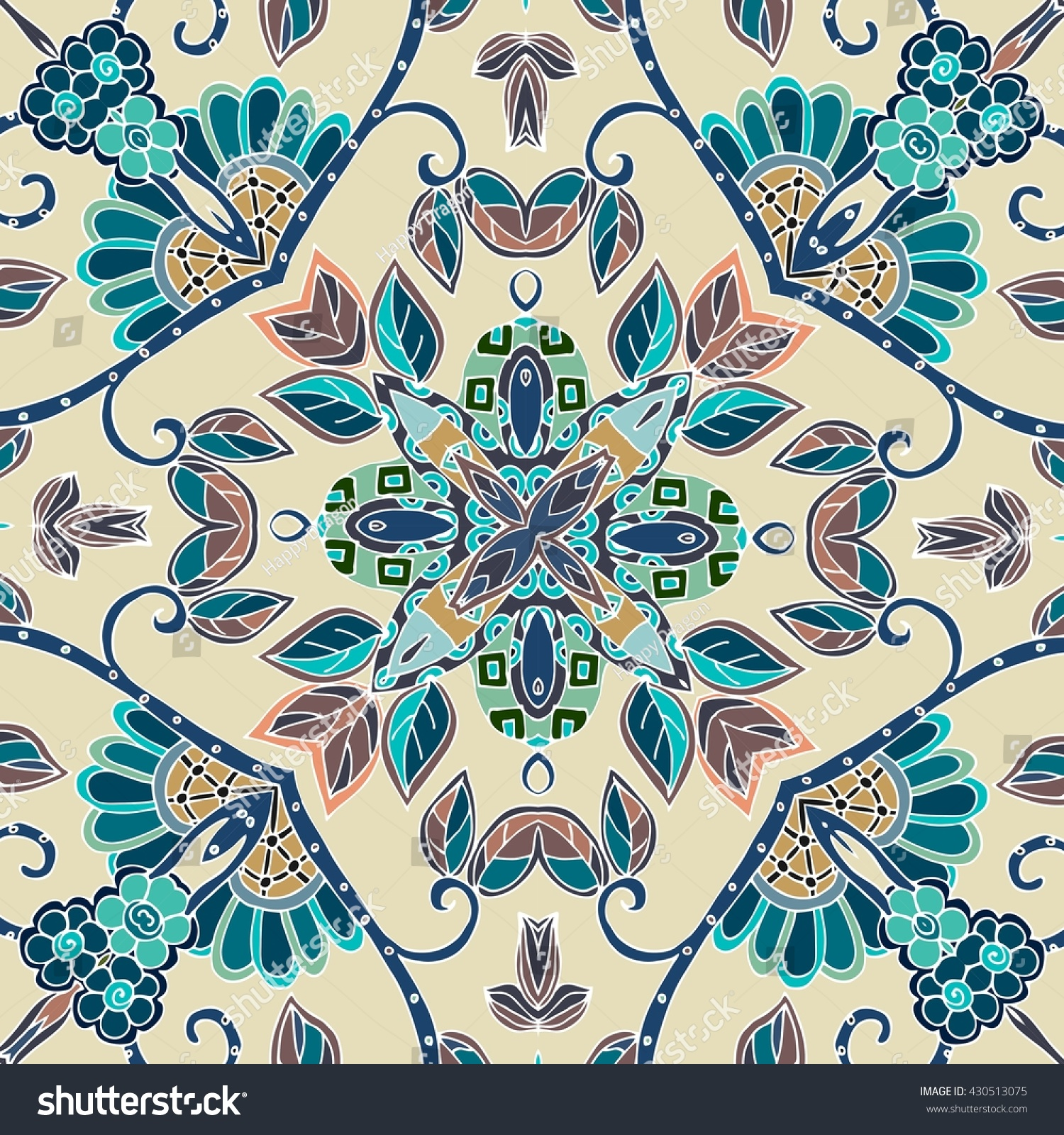 Ceramic tile decorative floral ornament can stock vector 430513075 ceramic tile decorative floral ornament can be used for frames cards bandana dailygadgetfo Gallery