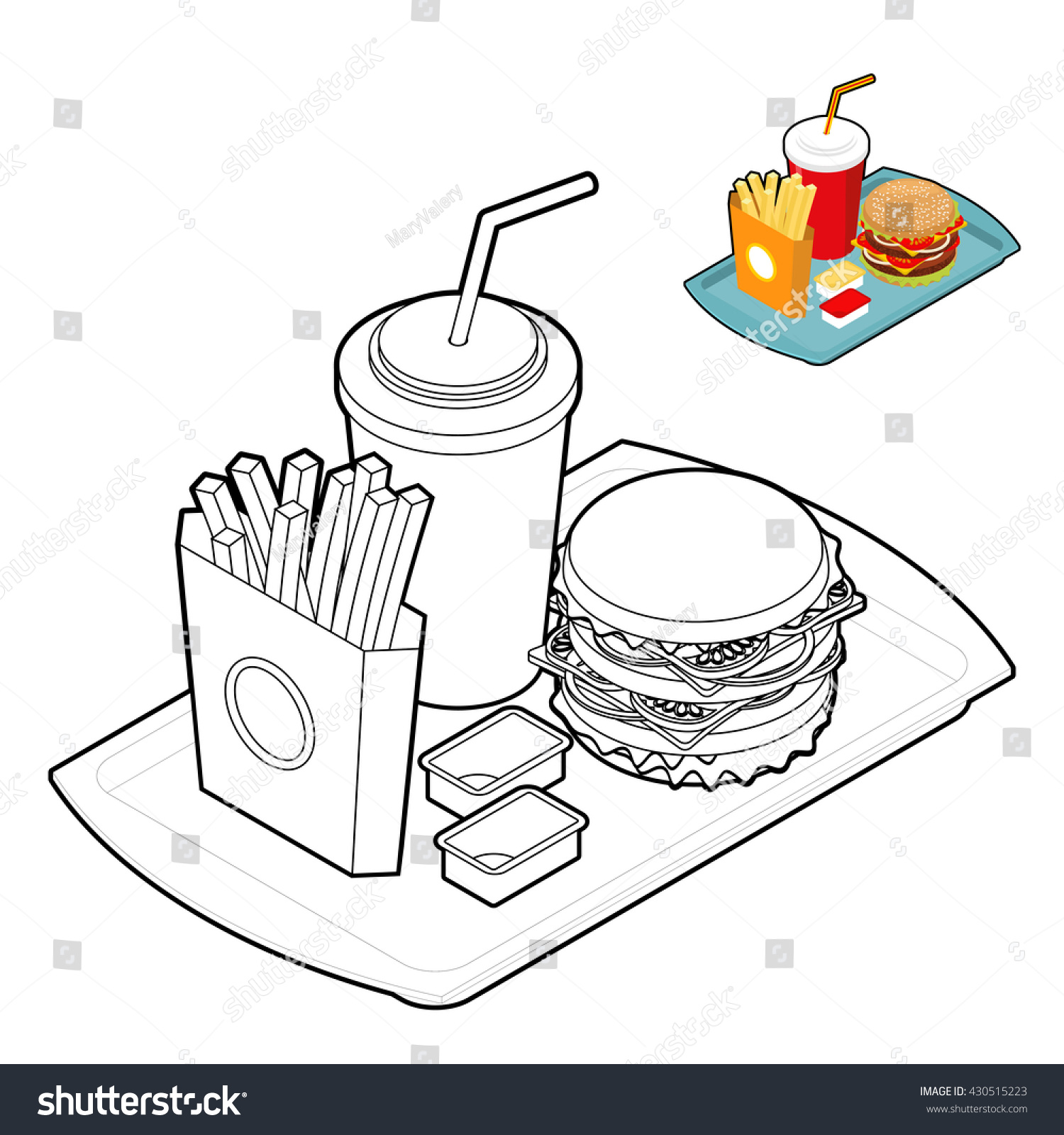fast food coloring book food in linear style big fresh hamburger delicious frying - Food Coloring Book
