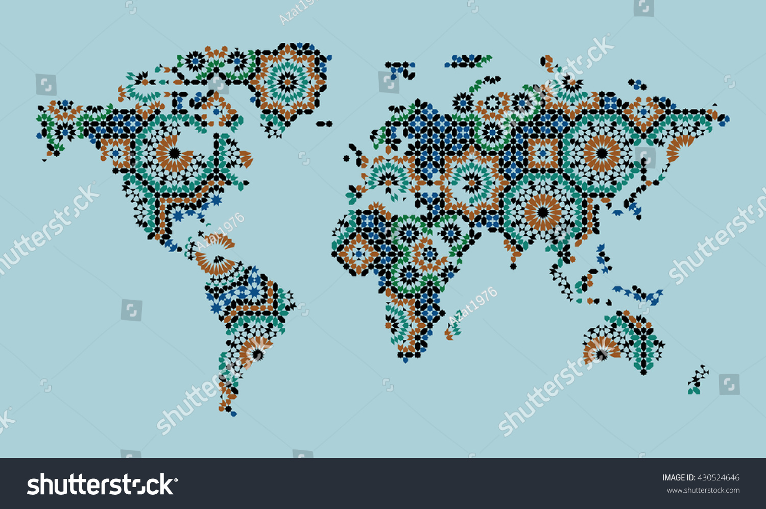 World Map Morocco Mosaic Traditional Arabic Stock Vector Royalty