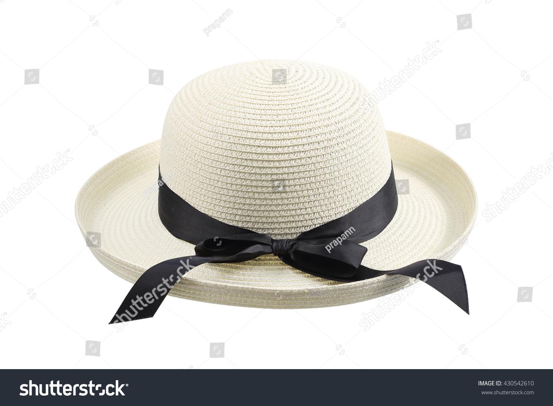 Feminine Womens Straw Hat Black Ribbon Hat Stock Photo (Edit Now ... e85d23fcaa3