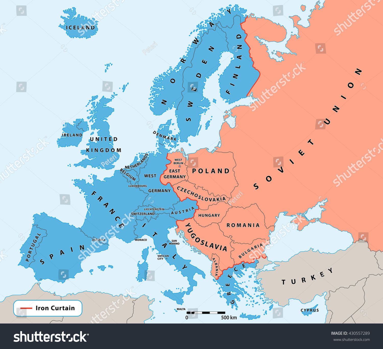 The iron curtain map - Iron Curtain Cold War Era On Europe Political Map Divided Europe In Years 1945